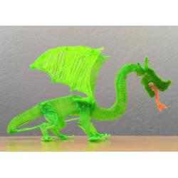 Зеленый дракон - шаблон трафарет для 3Д ручки