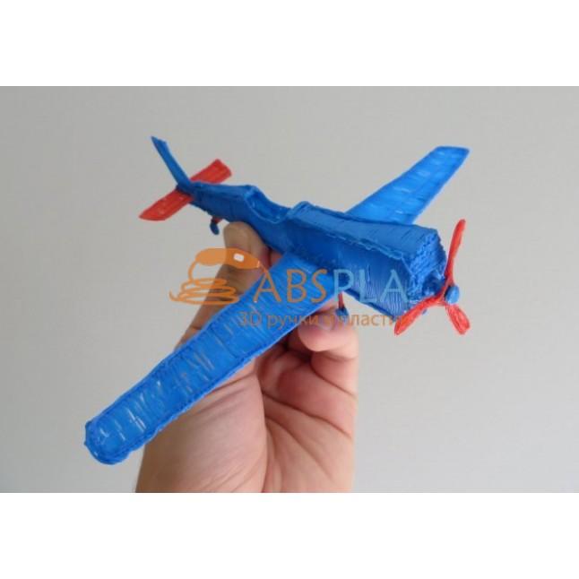 Самолет синий  - шаблон трафарет для 3Д ручки