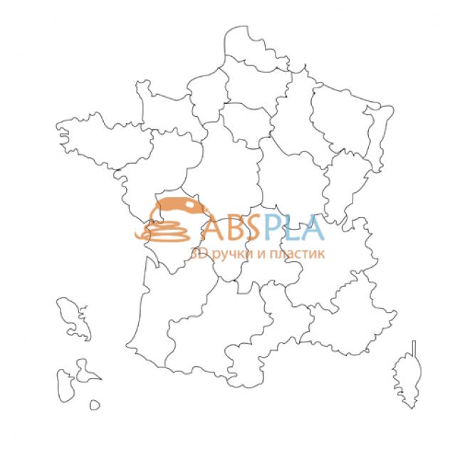 Карта Франции - шаблон трафарет для 3Д ручки