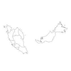 Карта Малайзии - шаблон трафарет для 3Д ручки