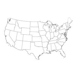Карта США - шаблон трафарет для 3Д ручки